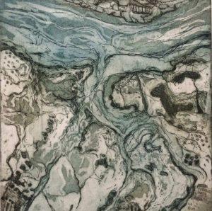 Jo Austen Oare Marshes etching 40x40 £160